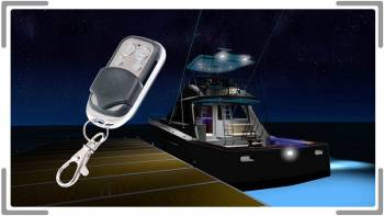 rendering of boat at night with lights on
