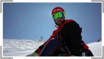 Handicapped skier looking at camera