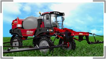 3D animation of miller tractor in field