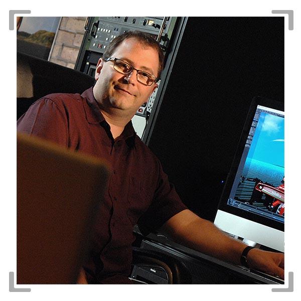 Man Josh Rasmussen producing motion graphics