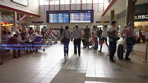 international airport with people walking