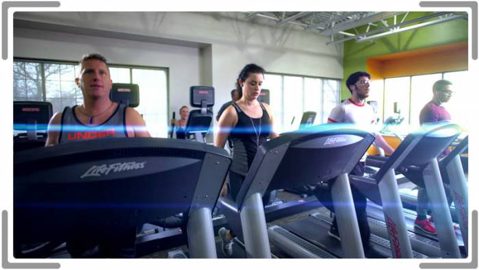 advertising with people working out on treadmills