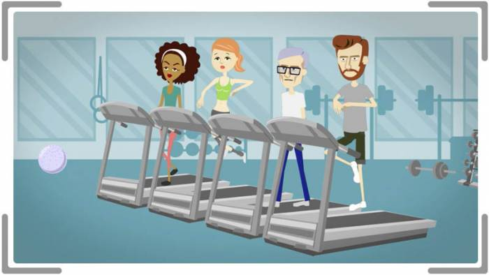 2d animation fo people working out at gym